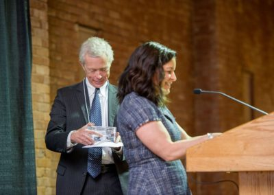 Erica Bodwell presents Gordon MacDonald with the 2nd Annual John E. Tobin, Jr., Justice Award